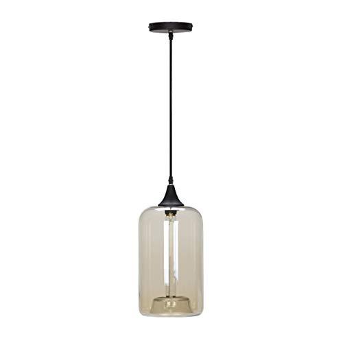 Globe Electric 65612 Modern 1 Light Pendant, Designer Cloth Cord, Amber Glass, Matte Black Finish, 1x A19 60W Blub (Sold...