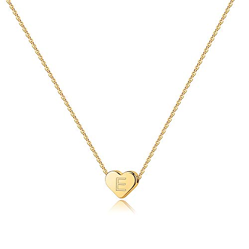Small Initial E Necklace for Girls - 14K Gold Filled Heart Initial Necklaces for Women, Tiny Handmade Initial Necklace for Girls Kids Child, Dainty Letter Initial Necklace for Teen Girl Little Girls