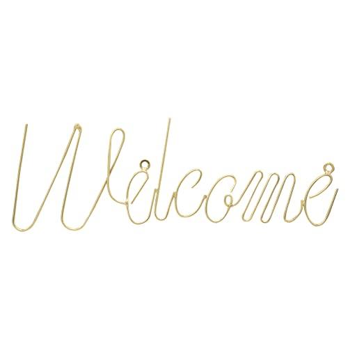 LaLe Living Wanddekoration Schriftzug Welcome in Gold, 27.5 x 11.5 cm aus Eisen für Flur/Hauseingang oder Büro