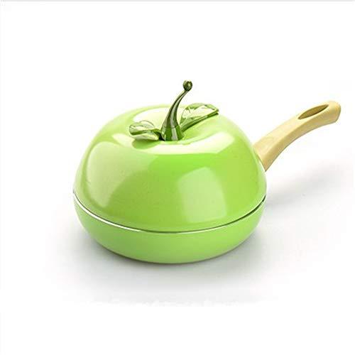 GJDBBLY Green Apple Fruit Frying Pan Fried Steak Color Saucepan Fried Eggs Smoke-Free No Stick met een deksel
