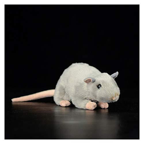 Peluche Extra Suave Vida Real Mini Ratas Blanco Ratones Mouse Peluche Lifelike Ratones Rellenos Animales Juguetes Cumpleaños (Color : Gray, Height : 17cm Long)