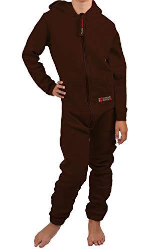 Gennadi Hoppe Kinder Jumpsuit - Jungen, Mädchen Onesie Jogger Einteiler Overall Jogging Anzug Trainingsanzug, braun,146-152
