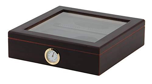 BigSmoke Zigarren Humidor Set - Zigarrenkiste mit Zedernholz, Befeuchter, Hygrometer, Aschenbecher & Zigarrenschneider - Luftdicht, Glasdeckel, Trennwand & Metallscharniere - 30 Zigarren - Braun