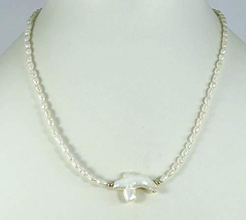 Perlenkette, Perlencollier, Süßwasserperlenkette, Süßwasserperlencollier mit Perlenmittelstück, 45 cm lang, Unikat, Handarbeit