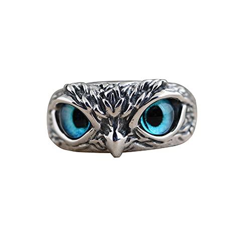Anillo de pareja,anillo de ojo de búho retro,anillos abiertos ajustables de animales,accesorio unisex anillo de diamantes para mujeres,hombres, niñas, amantes, día de San Valentín,regalo de cumpleaños