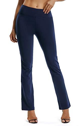 FITTOO Yoga Pantalon Femme Legging de Sport Extensible Pantalon à Pattes d'éléphant pour Fitness Jogging Danse, Bleu, L