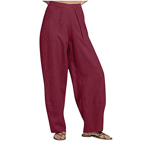 Taurner Pantalones de Mujer Color Sólido Verano Trousers Pantalones de Playa Casuales Pantalón de Verano Ligero (Vino, M)