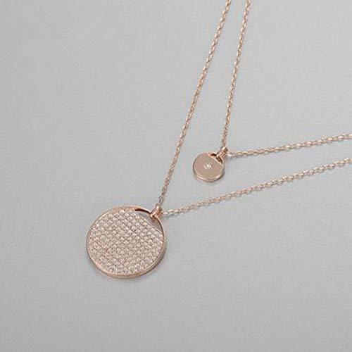 Collar Doble Raqueta de Cristal Colgante Nivel de Moda Mujeres Coreanas Cadena de Clavícula Collar Accesorios C