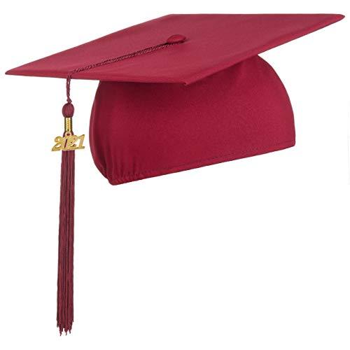 Lierys Doktorhut (Studentenhut) 2021 Jahreszahl Anhänger - 54-61 cm - Hut für Abschlussfeiern vom Studium, Universität, Hochschule, Abitur - Absolventenhut in rot