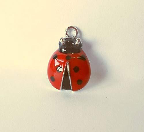 STOCK 12 PEZZI COCCINELLA in metallo smaltato rosso applicazione decoraz