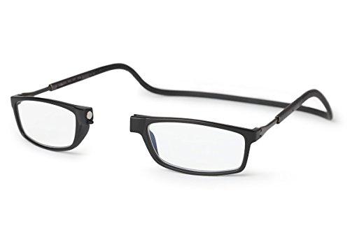 Nueva Montura Slastik para Gafas de Lectura Magnética Estilo Clic Doku 007 Estuche Blando Graduación, Varilla elástica & Lentes antirreflejantes Dioptría+2.5