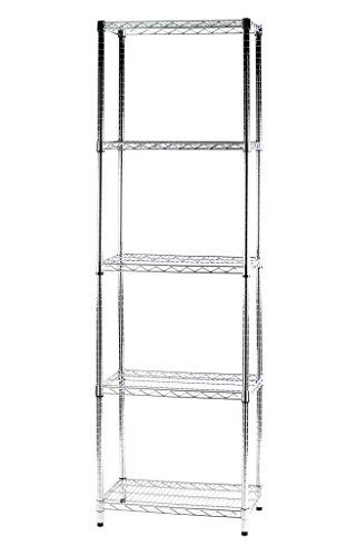 ARCHIMEDE - Sistema por módulos-estantería con Cinco estantes, Metal, Cromado, 61 x 36 x 200 cm.