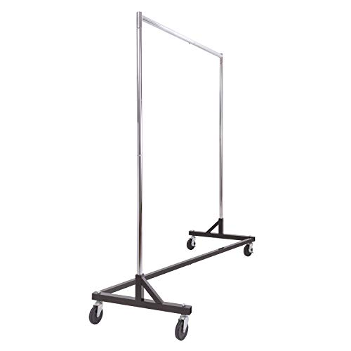 Commercial Garment Rack (Z Rack) - Rolling Clothes Rack, Z Rack With KD Construction With Durable Square Tubing, Commercial Grade Clothing Rack, Heavy Duty Chrome Commercial Garment Rack