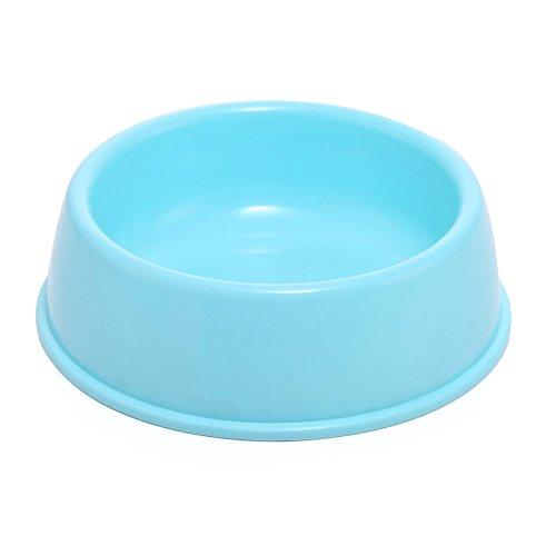 Pet Online Cuenco del animal doméstico tazón de fuente antirresbaladizo plástico para los perros y los gatos, 18.3 * 15.3 * 5.5CM, azul