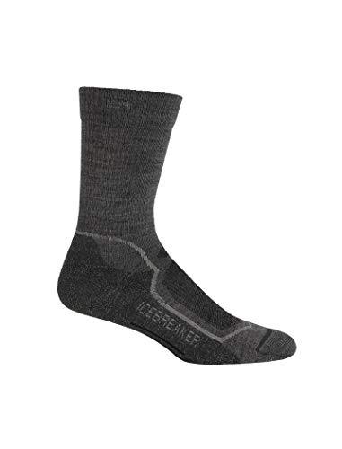 Icebreaker Hike+ Light Crew Chaussettes Homme, Twister Heather/silver/oil, 47-49 EU (Taille Fabricant: XL )
