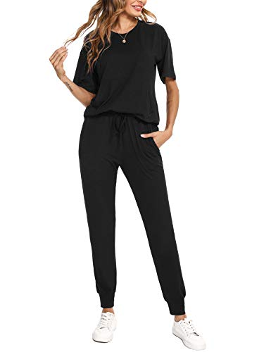 Irevial 2 Piece Track Suit Sets for woman Fashion lounge wear Short Sleeve Sweatshirt Tops and Drawstring Baggy Jogger Pant with Pockets Outfits Sets, Black,L