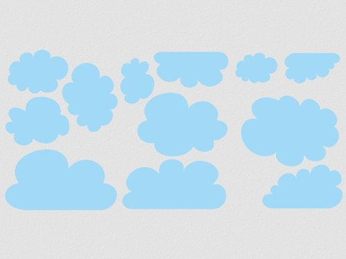 wallfactory - wall decal - 12 beautiful Clouds in white by wallfactory