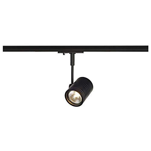 SLV 1-Phasen-Strahler BIMA I | Dreh- und schwenkbar, LED Spot, Deckenleuchte, Schienen-System, Schienenstrahler, Innenbeleuchtung, max. 50W 1P-Lampe | GU10 QPAR51, alu-schwarz, max. EEK E-A++