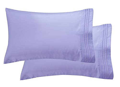 Luxury Ultra-Soft 2-Piece Pillowcase Set 1500 Thread Count Egyptian Quality Microfiber - Double Brushed - 100% Hypoallergenic - Wrinkle Resistant, King Size, Lilac