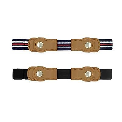 Adjustable Belt For Kids, No Buckle Belt For Boys and Girls, Toddler Belts (Black&Blue)
