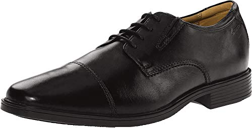 Clarks mens Tilden Cap Oxford, Black Leather, 9 E US