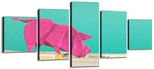 MWDDDEA® Cuadros De Lienzo Decoración para El Hogar 5 Piezas Hucha De Origami Pinturas Impresiones En HD Cartel (Sin Marco: 200X100Cm) Sala De Estar Modular Arte De La Pared - Decor