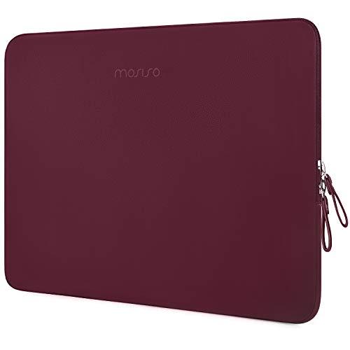 MOSISO PU Leder Sleeve Hülle Kompatibel mit 13-13,3 Zoll MacBook Air/MacBook Pro Retina/2019 2018 Surface Laptop 3/2/Surface Book 2, Gepolstert wasserdichte Laptoptasche, Weinrot