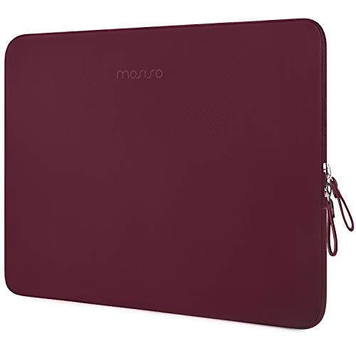MOSISO Laptop Sleeve Compatible with MacBook Air 13 inch A2337 M1 A2179 A1932, 13 inch MacBook Pro A2338 M1 A2289 A2251 A2159 A1989 A1706 A1708, PU Leather Padded Bag Waterproof Case, Wine Red