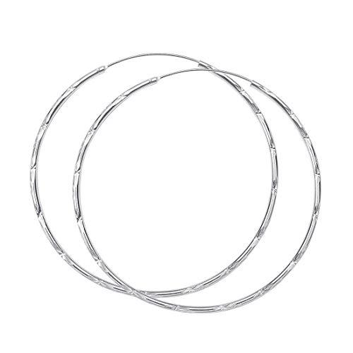 Materia 925 orecchini a cerchio in argento grande ø63mm - orecchini in argento con motivi a forma di stella con diamantato drachensilber sacchetto gioielliere qualità #SO-63