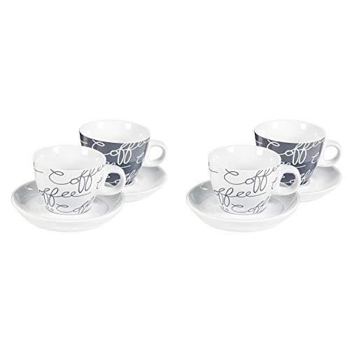 Flirt by R&B 531060 Cornello grey Espressotasse 80 ml mit Untertasse Ø 11cm, grau/weiß, 8-teilig (1 Set)