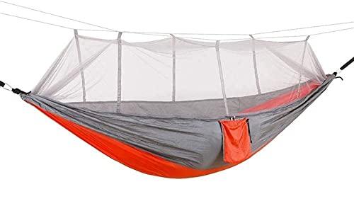 LVLUOKJ Hamaca para Acampar con mosquitera, paracaídas de Nailon, Ultraligera, Individual, para Viajes al Aire Libre, Acampar, Senderismo, mochilero, 260 x 140 cm (Color : Grau-Orange)