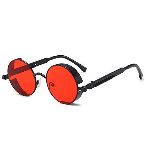 YOULIER Retro Round Frame Gafas De Sol Metal Primavera Prince Espejo Reflectante Colorido Hombre Gafas De Sol Marco Negro Transparente Película Roja