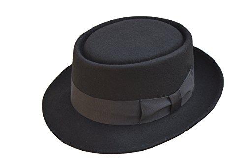 Viz-uk wear Chapeau porkpie en feutre de laine fait main avec bande noire - Noir - Small