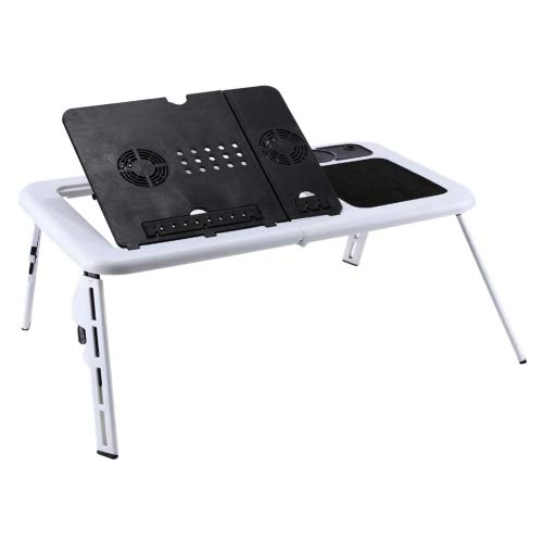 fire bird Práctico Portátil Ajustable de Alta Escritorio del Ordenador portátil Plegable con Ventilador de refrigeración Capaz, Muy práctico (Negro) (Color : White)
