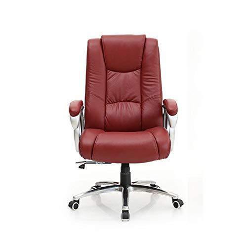 ZAGO Executive Computer Stuhl Wein-Rot-Boss Stuhl Bürostuhl Chefsessel Study Stuhl Computer Stuhl Heim Reclining Drehstuhl Ledersitzhöhen für Home Office Entertainment Möbel