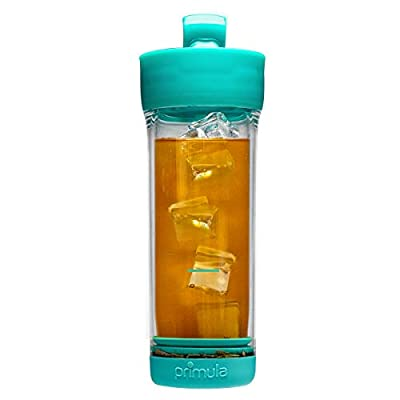 Primula Press & Go Double Wall Loose Leaf Iced Tea Brewer Tumbler With Strainer, 16 oz, Teal