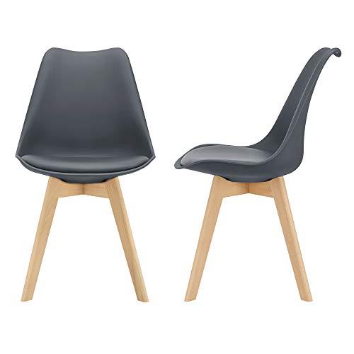 [en.casa] Juego de sillas de Comedor 81 x 49 x 57 cm Silla tapizada en Cuero sintético Patas de Madera de Haya Sillas de Cocina Set de 2 sillas Gris