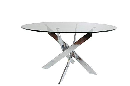 ambiato Esstisch Ruth Rund 120cm Chrom Gestell + Glasplatte Glastisch runder Küchentisch Konferenztisch Glasesstisch