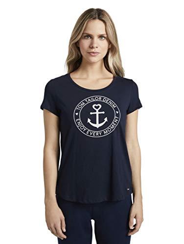TOM TAILOR Denim Damen Basic Logo' T-Shirt, Blau (10668-Sky Captain Blue), M