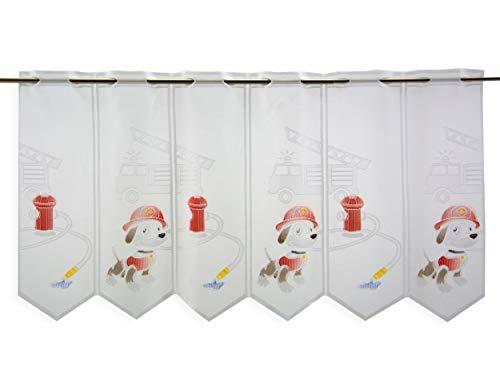 Scheibengardine Feuerwehr Hund Drehleiter | Höhe 50cm | Breite der Gardine frei wählbar in 15,5cm Schritten | Kinderzimmer Gardine | Panneaux Multicolor | Bistrogardine |