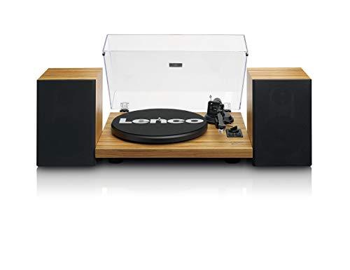 Lenco LS-500 - Hi-Fi Plattenspieler mit Bluetooth - Mit externen Lautsprechern 2 x 30 W RMS - Riemenantrieb - Auto-Stopp - Vorverstärker - MDF-Gehäuse - Eiche
