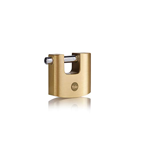 Yale Y114B/60/114/1 Brass Shutter Padlock (60 mm) - Outdoor Lock with Broader Locking for Sheds, Gates, Shutters - 3 Keys - High Security