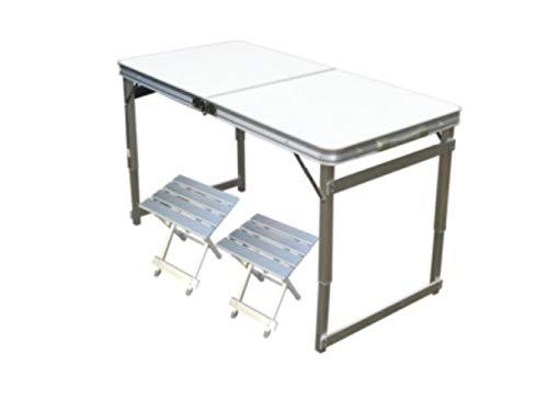 ZRR Mesas Plegables para Exterior Mesas y sillas de Aluminio Mesas portátiles, L120CM Blanco 2 tabureteA