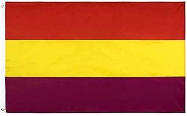 PROXOOM. Bandera Republicana. Bandera Segunda República Española Grande 150 x 90 cm. Colores AUTENTICOS CMYK, Vivos y Resistente UV. Bordes Reforzados. Incluye 2 Accesorios para el Montaje: Amazon.es: Jardín
