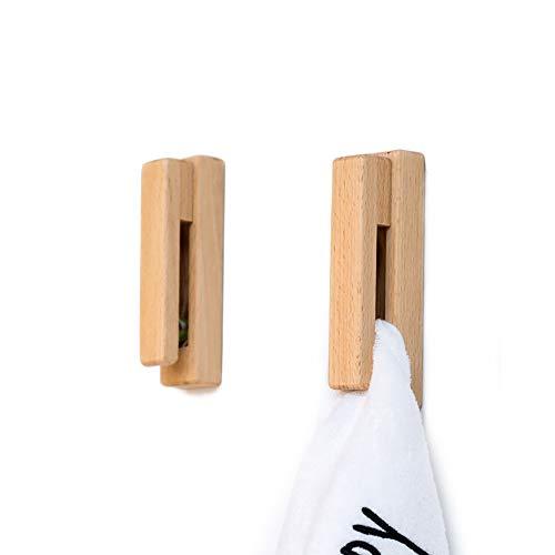 JINMURY Moderne Hölzerne Handtuchhalter - Satz von 2 Selbstklebende Handtuchhaken Holz Wand Handtuchhalter Home Decor - Langlebig, Einfache Installation, Hält Fest Handtuch (Buche)