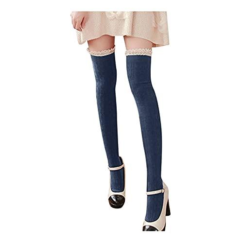 PJRYC Las Medias de Las Mujeres Son de Moda, cómodas y cálidas Medias de Alta Longitud de Muslo de algodón Tejidas de Punto en los Calcetines de Encaje de la Rodilla (Color : Navy, tamaño : One Size)