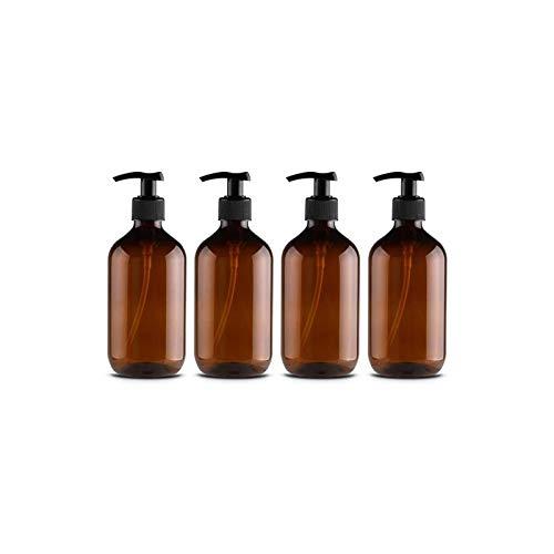 Leikance Leere Duschgel-Flaschen, 300 ml, nachfüllbare Pumpflaschen für Lotionen und Shampoos, 4 Stück, braun (Braun) - SB-122