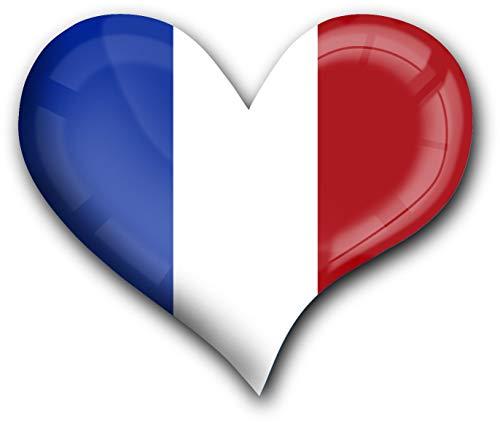 metALUm Herz Acrylmagnet mit starkem Neodym - Magnet Flagge Frankreich #1311010
