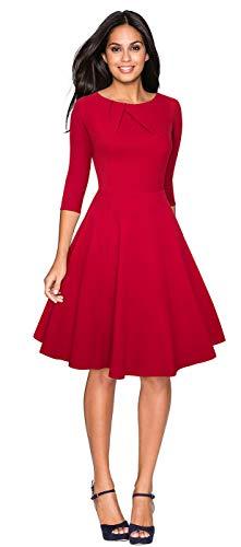 CHIC DIARY 1950er Vintage Kleid Damen Rundhals 3/4 Ärmel Retro Elegant Cocktailkleid A Linien Rockabilly Abendkleid, Schwarz/Rot, Rot, M