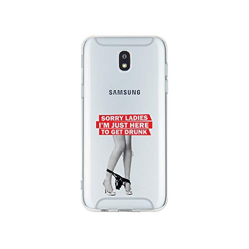 licaso Handyhülle kompatibel für Samsung Galaxy J3 (2017) I Schutzhülle aus TPU mit Sorry Ladies I'm Just Here to Get Drunk Print I Transparente Hülle Handy Aufdruck I Weich Silikon Durchsichtig